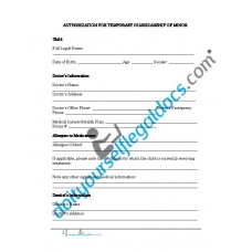 Authorization For Temporary Guardianship of Minor